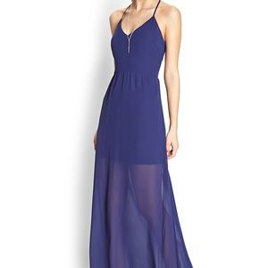 Blue sleek cutout maxi dress